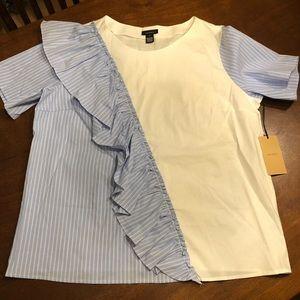 Blue Stripe / White Blouse
